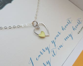 Gift for goddaughter etsy gift for goddaughter i carry your heart necklace mixed metal heart charm goddaughter gift from godmother baptism first communion niece negle Images
