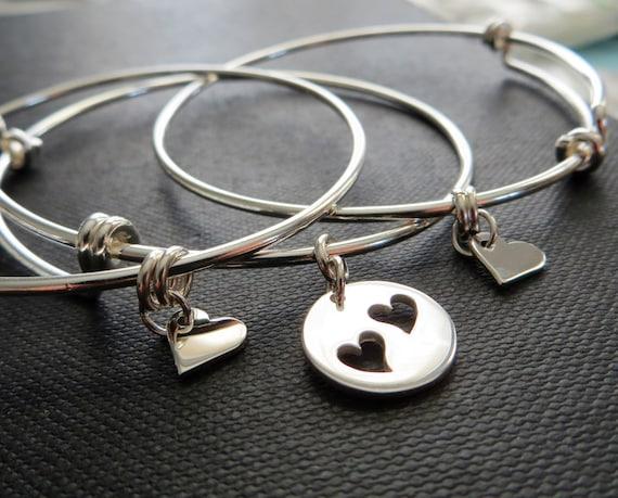100% de qualité supérieure images détaillées meilleurs tissus bracelet jonc de mère fille, mère et bijoux 2 filles, bracelets en argent  sterling coeur découpe charme, cadeau femme, maman et deux filles