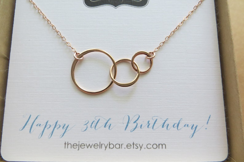 30th Birthday Gift For Her Rose Gold 3 Ring Necklace