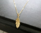 Tiny feather necklace, golden bronze feather charm, 14k gold filled delicate chain, nature, wing, leaf, great for layering