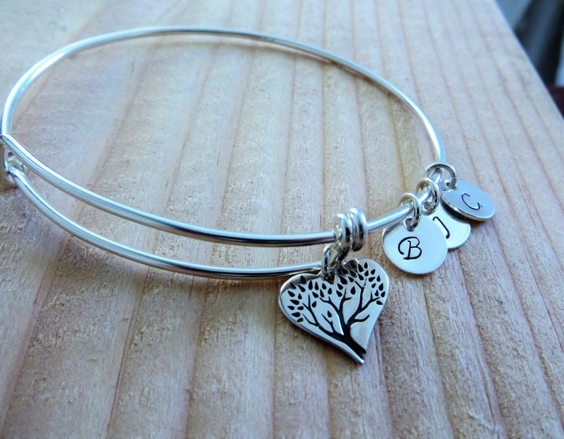 grandmother mothers day initial grandma birthday gift Personalized charm bracelet Mom birthday gifts heart shaped tree of life bangle