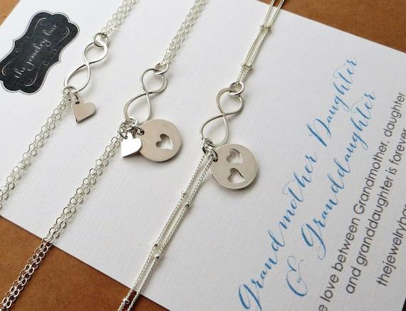 mother granddaughters bracelet set Hammered charm Grandmother Sterling silver generations bracelet set Generations bracelet