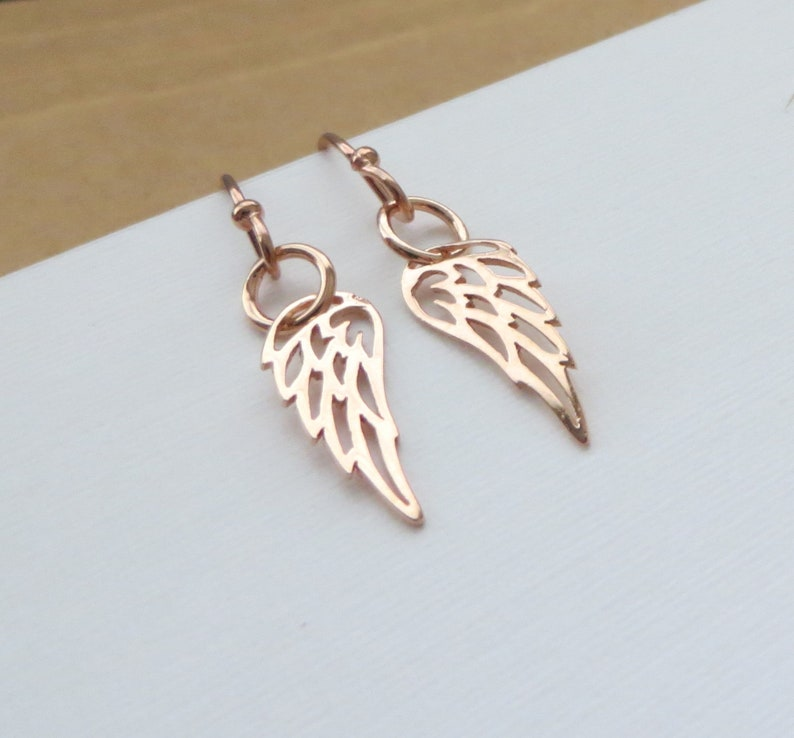 36d3f413140be Rose gold Angel wing earrings, dainty small earrings, silver, gold, gift  for her, feather earrings