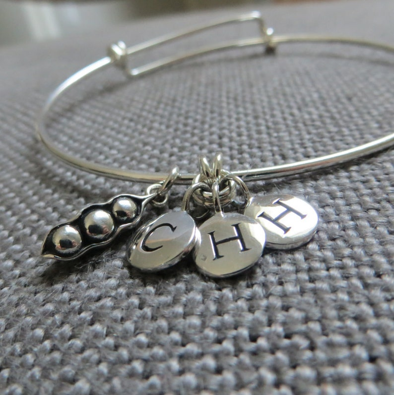 personalized jewelry initial sterling silver mom of 3 gift mother of three boys three peas in a pod bangle mother of 3 jewelry