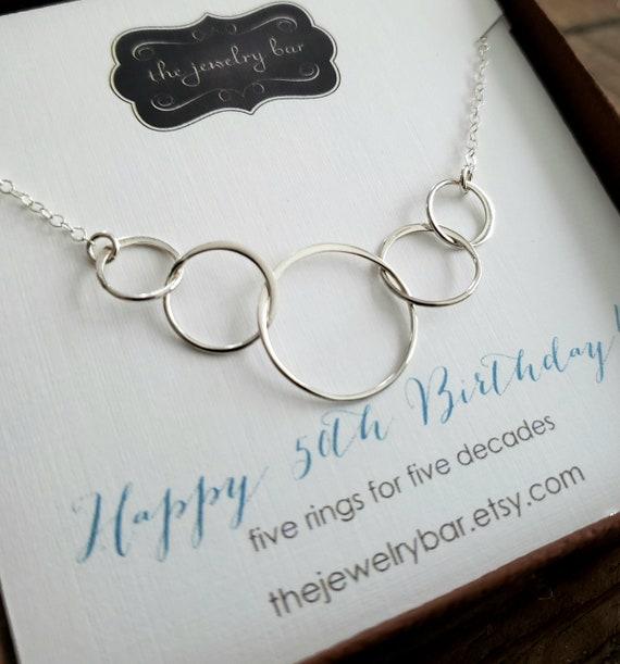 50th birthday gift for grand mother 5 Interlocked rings necklace 50th Birthday gift for mom 5 anniversary gift for her Gift for sister