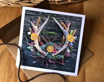 Mandarin Sun Deer Mother Mandala - Blank Note Card. A 5x5 square card with envelope, blank inside.