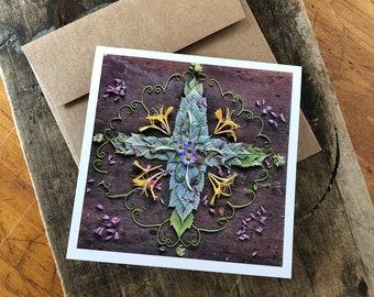Sacred Center Cross Mandala Note Card, 5x5 square with envelope, blank inside.