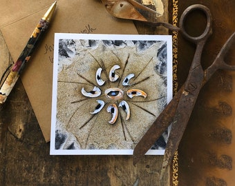 Katama Beach Broken Shell Note Card, 5x5 square with envelope, blank inside