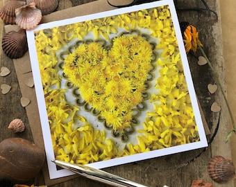 Dandelion Heart Mandala Note Card, 5x5 square with envelope, blank inside