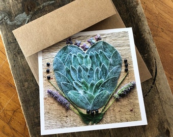 Lamb's Ear Heart Note Card, 5x5 square with envelope, blank inside.