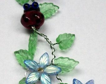 Blue Flower Ladybug  Sun catcher
