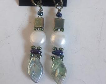OOAK Pearly Leafy Beaded Earrings