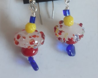 OOAK White and Red Speckled Lamp Work Earrings