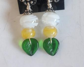 OOAK White Yellow and Green Lamp Work Beaded Earrings