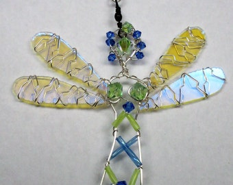Blue and Green Dragonfly Sun Catcher Fairy