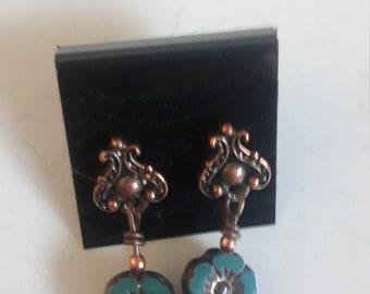 OOAK Blue and Bronze Flower Beaded Earrings