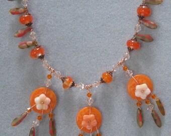 Sparkly Orange Button Necklace