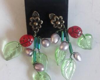 OOAK Little Ladybug  Beaded Earrings