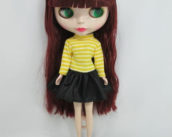 Blythe Dal Doll Outfit Handcrafted clothing Tee-shirt  Basaak # Strips T-34