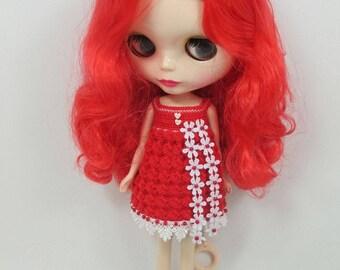 Handgemaakte gehaakte jurk outfit kleren voor Blythe pop # 200-1 breien