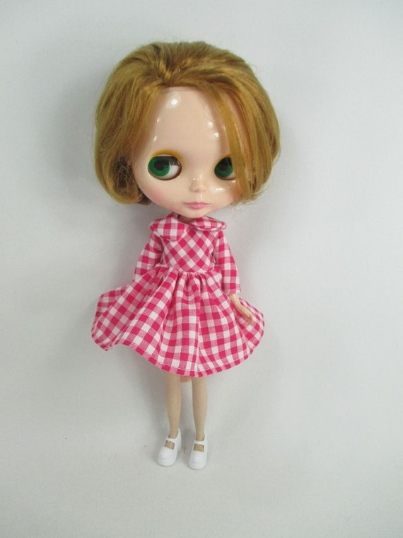 Handcrafted scotch dress outfit miniature for Blythe doll 957-24