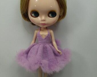 Handgemaakte gehaakte jurk outfit kleren voor Blythe pop # 200-50 breien