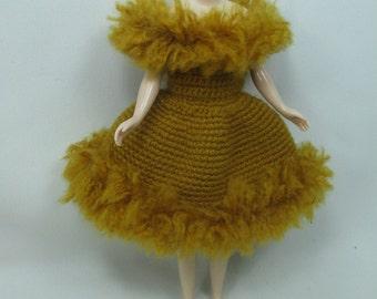 Handgemaakte gehaakte jurk outfit kleren voor Blythe pop # 200-31 breien