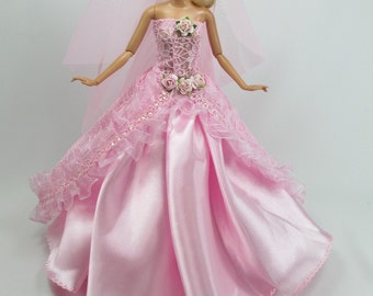 Barbie Doll Wedding Gown Dress with veil Royalty Manfah 3