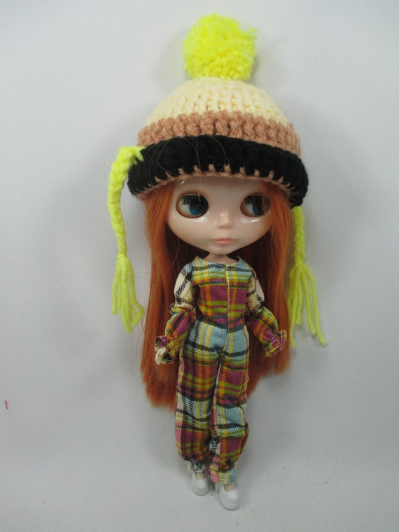 Handcrafted clothing outfit for Blythe doll Fancy scotch overall and hat 400-1
