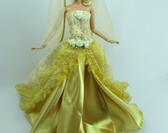 Barbie Doll Wedding Gown Dress with veil Royalty Manfah 8