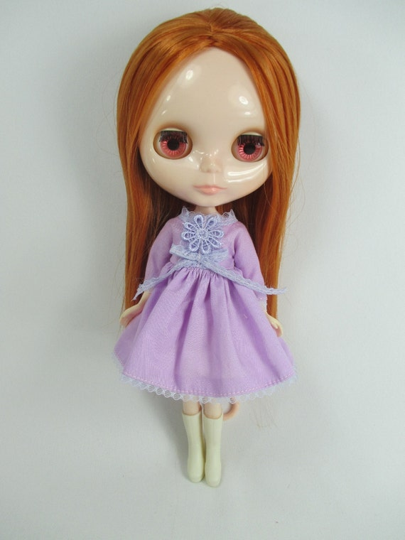 Handcrafted long sleeve dress outfit miniature for Blythe doll 957-16