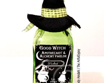 Potion Bottle, Potion, Halloween Potion, Halloween, Green, Black, Witch, Hat,  Apothecary