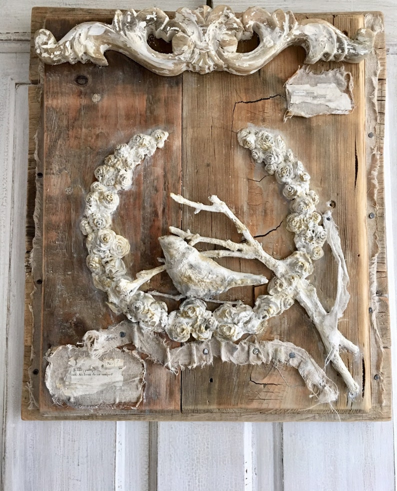 French Festoon wreath garland Bird ornament rustic wall decor from Burlap Luxe. #nordicfrench #frenchcountry #frenchfarmhouse #homedecor