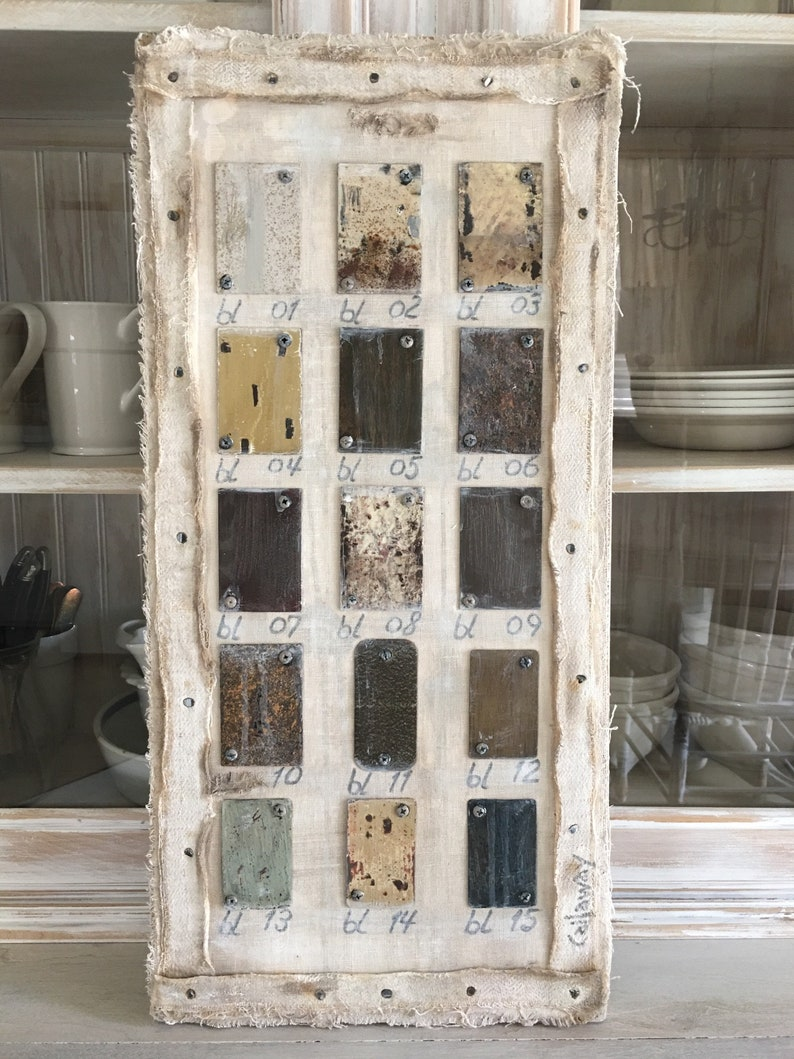 Paint Chart Art French Canvas Tarp linen Salvage Solid Wood - a French Nordic home decor piece to treasure. COME CHECK OUT these gorgeous Etsy handmade decor finds for the home!