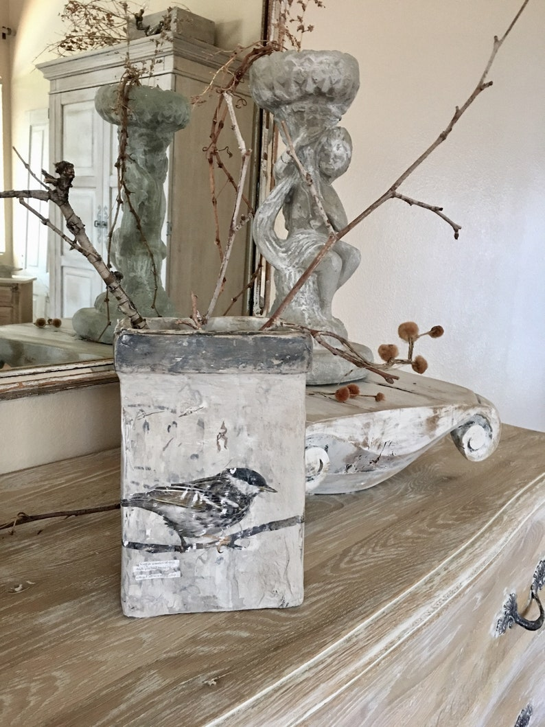 Box Bird art paper mache Cartapesta art piece by Burlap Luxe. #frenchcountry #nordicfrench #homedecor #handmade #interiordesign #oldworldstyle #interiordesign