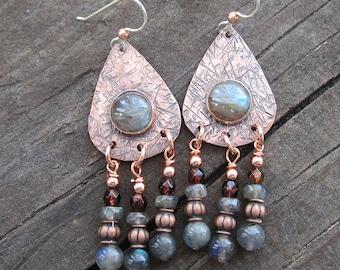 Labradorite and Copper Chandelier Earrings