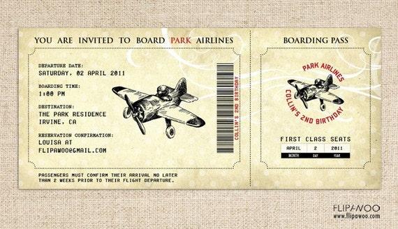 Vintage airplane birthday invitation airplane boarding pass etsy image 0 filmwisefo