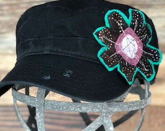 Black Distressed Military Hat with Black Flower