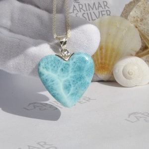 Valentine/'s Gift for Wife or Sweetheart Larimar Heart Pendant