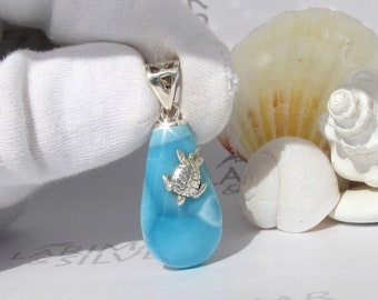 turtleback Larimar pendant 925 silverblue moonlarimar jewelrygift for woman Tides of Winter Larimar moon pendant by Larimarandsilver