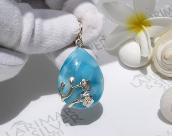 Blue Pendant Dominican Larimar Good-looking Pendant AAA+Natural Larimar Pendant Gift for gIrl and Women,best gift for wife,earring,rings