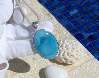 Gift Jewelry Sterling Silver Crown Design Anniversary Gifts Round 14mm Gemstone Love and Peace Larimar Silver Necklace SV925 Blue