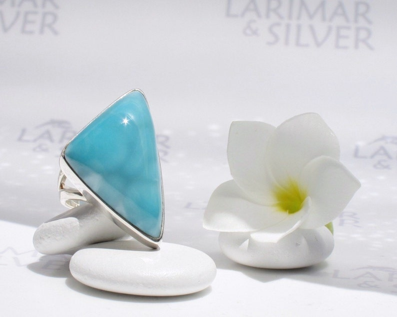 Caribbean Sail Larimar ring size 8.75 by Larimarandsilver Larimar triangle ring sterling silvercocktail ringturquoise ringwoman gift