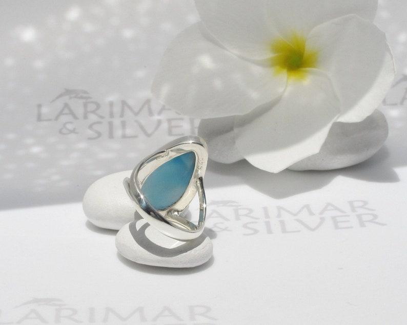 Water Front Larimar ring size 6.5 by Larimarandsilver Larimar ring 925 silverturtlebackcrystal bluebest Larimar jewelrygift for wife