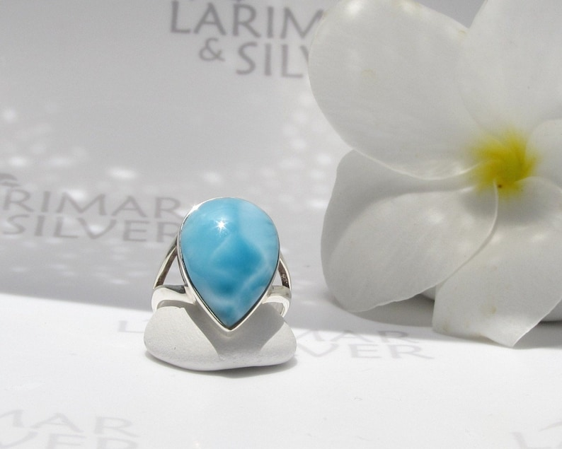 Larimar ring size 6.75 by Larimarandsilver Blue Lake in the Sky azure Larimar pear ring 925 silverwater dropLarimar jewelrygift for her
