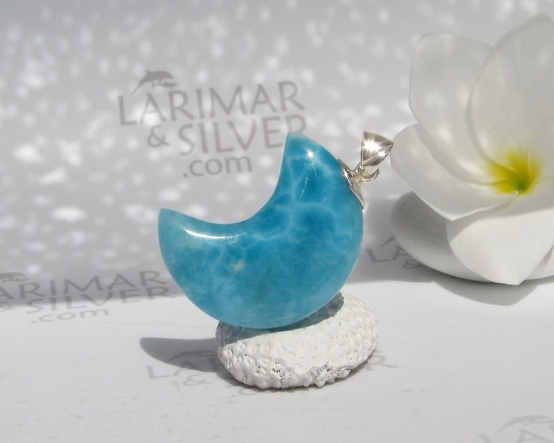 AAA Larimar moon pendant by Larimarandsilver Larimar pendant 925 silverblue moonLarimar jewelrygift for her Great Magician of the Seas