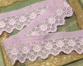1 yard Antique rare cotton whitework violet base white lace edwardian trim wedding dress flapper intricate pattern