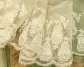 Very rare Antique cotton tulle 3-d bell flower petal lace tulle trim bobble gorgeous doll dress trim millinery cream white sheer 3 quot wide