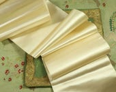 1 yard Antique silk satin ribbon cream white ivory 6.5 quot wide badge making taffeta millinery hat trim french dolls dress