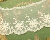 15 quot Antique cotton tulle tambour lace trim raised thread tulle intricate cream white flower pattern gorgeous doll dress trim 3.75 quot wide